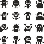 Silly vector characters in a trendy style. Same width and height make them suitable to use as avatars.