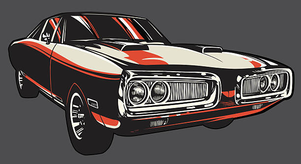 Vector Charger: Color Version Vector illustration of a Charger hot rod car on a gray background. sports car stock illustrations
