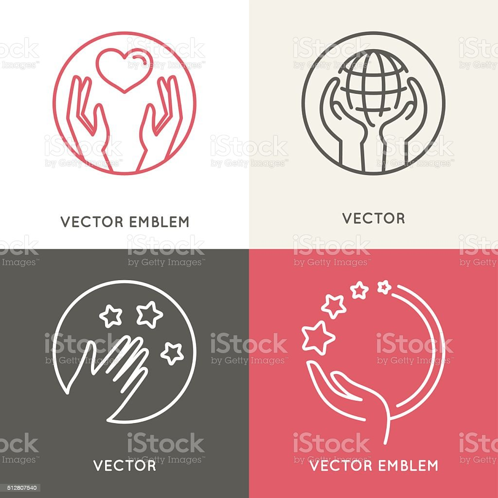Vector charity and volunteer concepts and logo design elements i vector art illustration