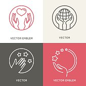 Vector charity and volunteer concepts and logo design elements i