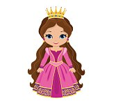 Vector charming medieval princess in pink dress