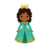 Vector charming medieval princess in turquoise dress.