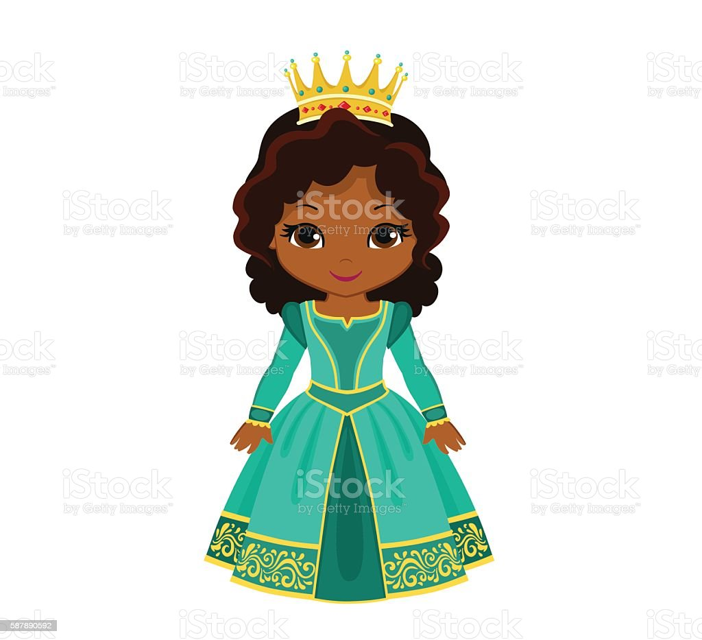 Vector charming medieval princess in turquoise dress. vector art illustration