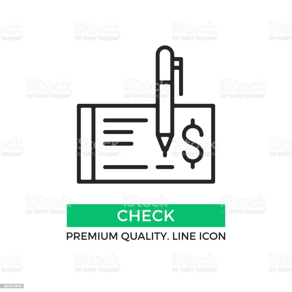 Vector check icon. Cheque and pen. Draw a check concept. Premium quality graphic design element. Modern stroke sign, linear pictogram, outline symbol, simple thin line icon Vector check icon. Cheque and pen. Draw a check concept. Premium quality graphic design element. Modern stroke sign, linear pictogram, outline symbol, simple thin line icon Bank - Financial Building stock vector