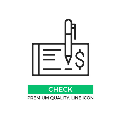 Vector Check Icon Cheque And Pen Draw A Check Concept Premium Quality Graphic Design Element Modern Stroke Sign Linear Pictogram Outline Symbol Simple Thin Line Icon Stock Illustration - Download Image Now