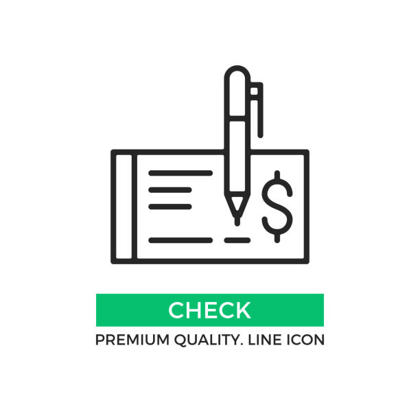 Vector check icon. Cheque and pen. Draw a check concept. Premium quality graphic design element. Modern stroke sign, linear pictogram, outline symbol, simple thin line icon Vector check icon. Cheque and pen. Draw a check concept. Premium quality graphic design element. Modern stroke sign, linear pictogram, outline symbol, simple thin line icon check financial item stock illustrations