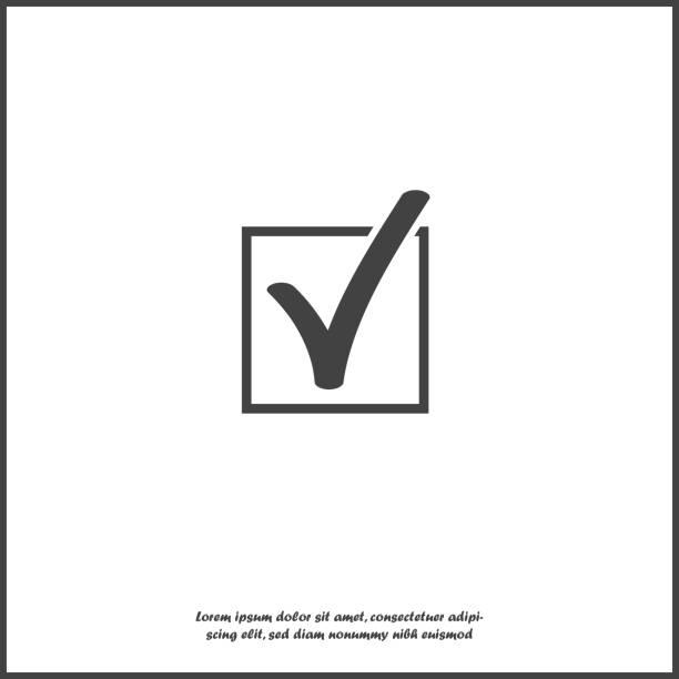 illustrazioni stock, clip art, cartoni animati e icone di tendenza di vector check mark icon in squared on white isolated background. layers grouped for easy editing illustration. for your design. - controllo