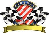 A vector illustration of a patriotic checkered flag racing logo.