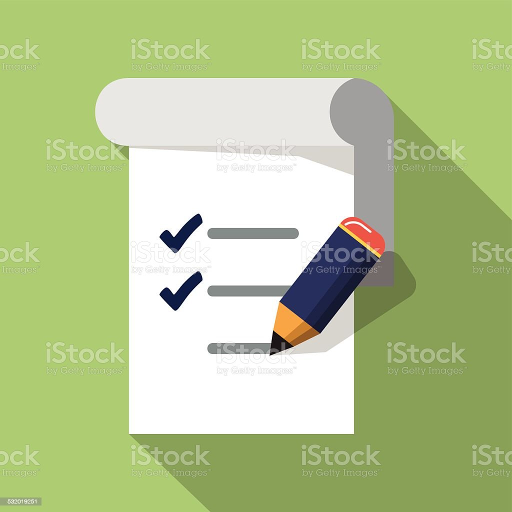 Vector Checklist with Pencil vector art illustration