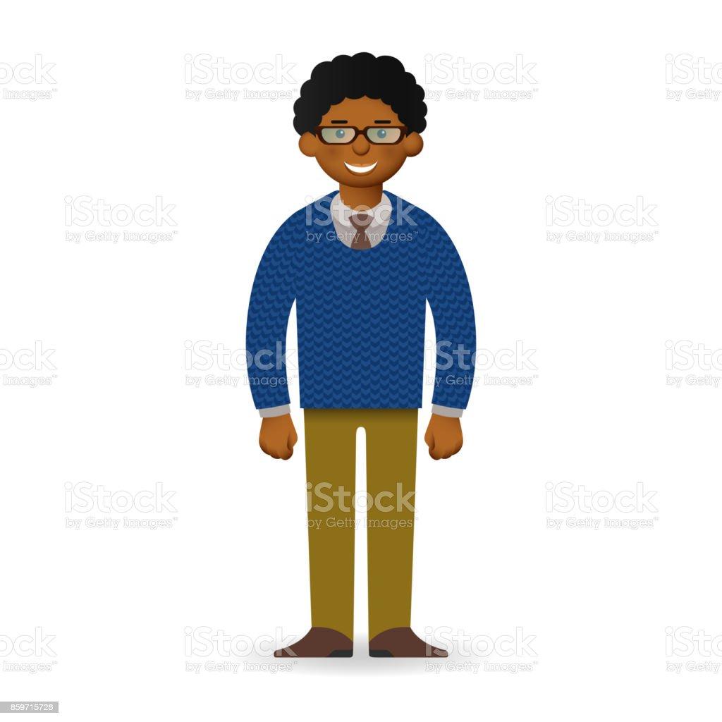 08636cd5c Hombre africano descarado del vector en suéter y la posición de la camisa,  ilustración de