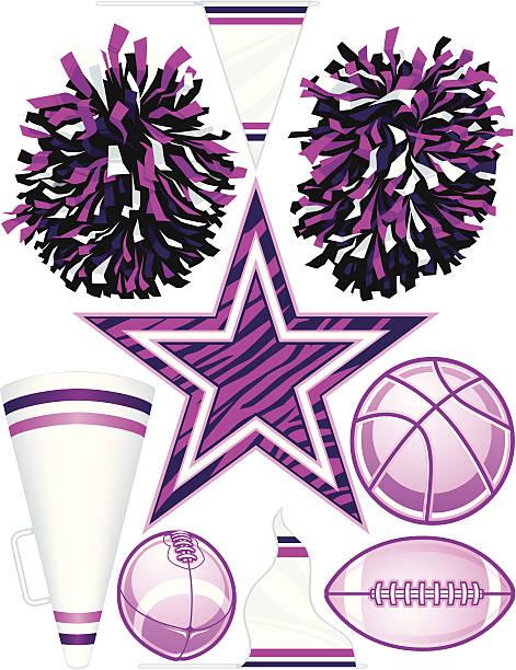 stockillustraties, clipart, cartoons en iconen met vector cheerleader elements - pompon