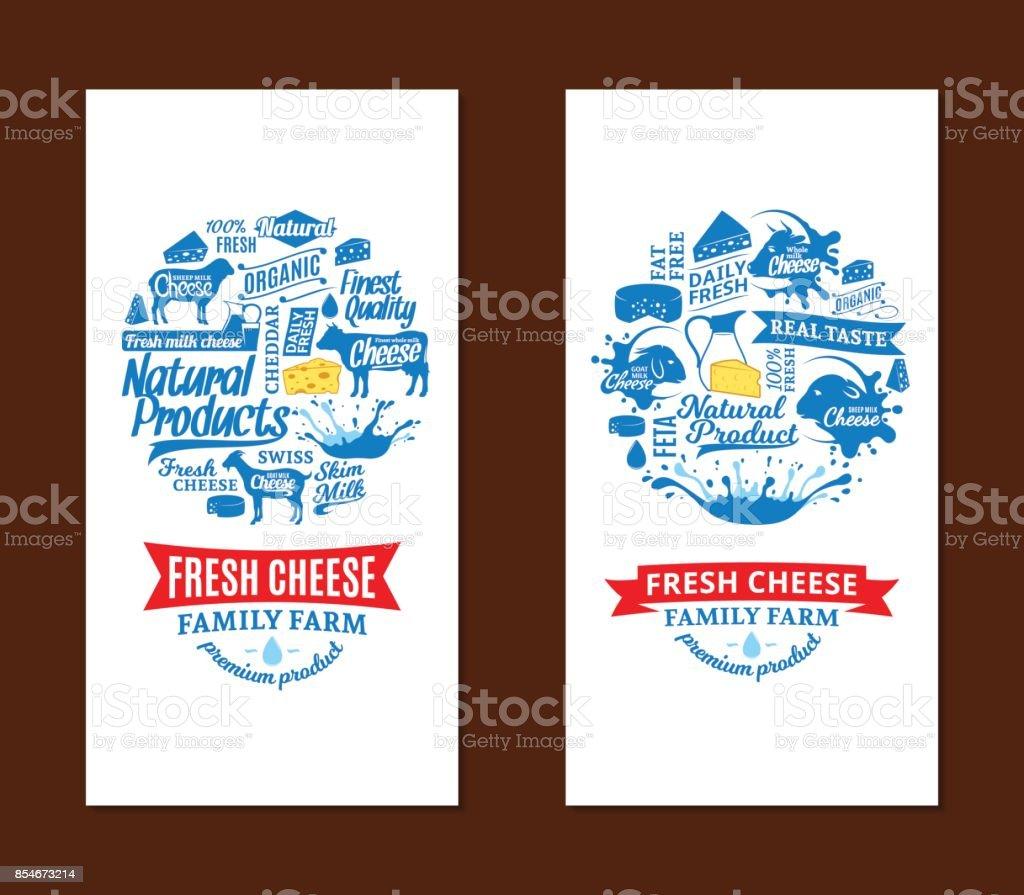 Vector cheese cards vector art illustration