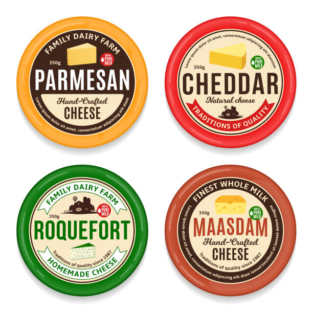 illustrazioni stock, clip art, cartoni animati e icone di tendenza di vector cheese round labels and icons - formaggio
