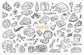 Vector Cheese Set. Hand Drawn Doodle various types of cheese