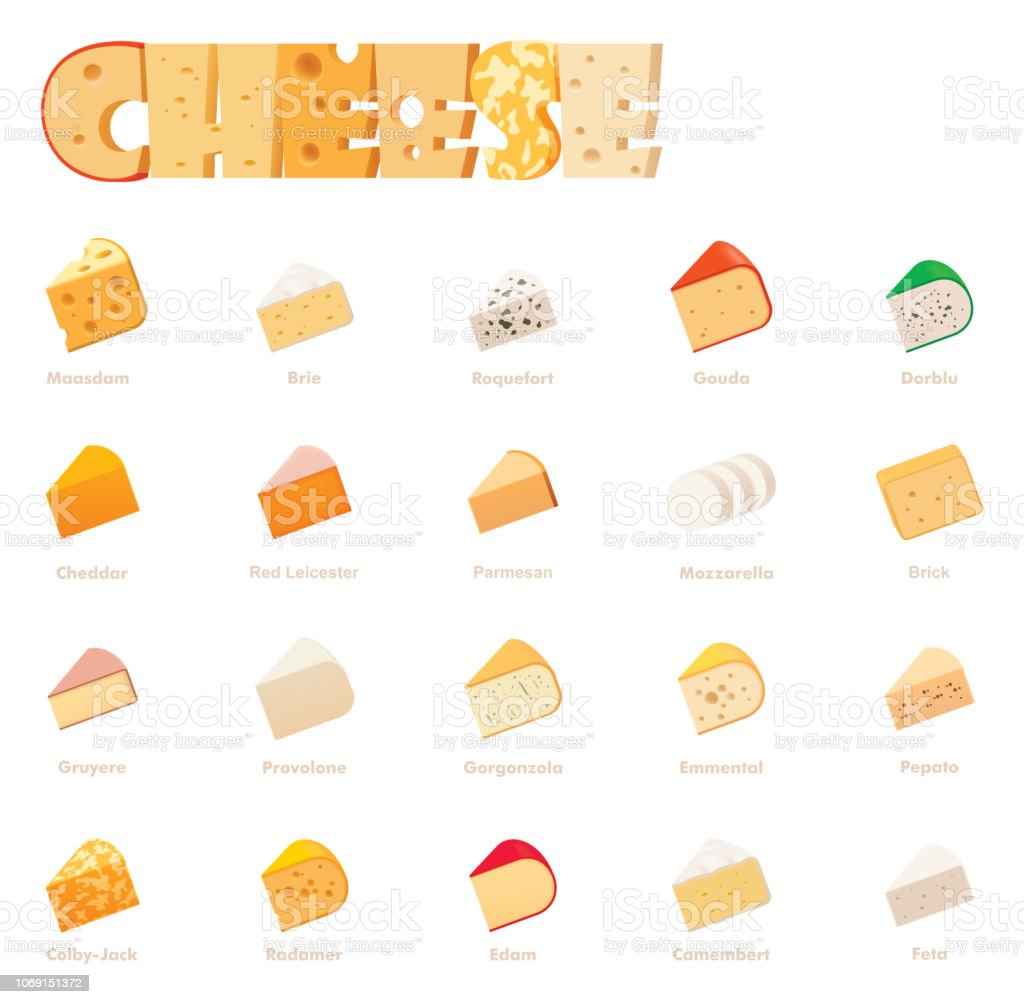 Vector cheese types icon set - Векторная графика Англия роялти-фри
