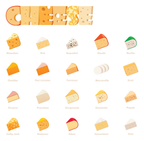 Vector cheese types icon set Vector cheese types icon set. Includes various cheese types - maasdam, brie, gouda, mozzarella, swiss cheese, parmesan, emmental, camembert, cheddar, feta dorblu and other popular cheeses mozzarella stock illustrations