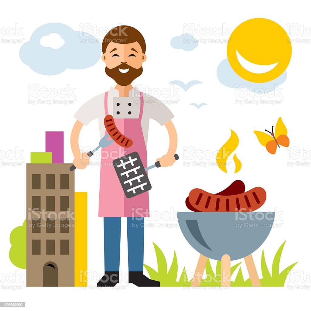 Vector Chef Barbecue. Flat style colorful Cartoon illustration. vector art illustration