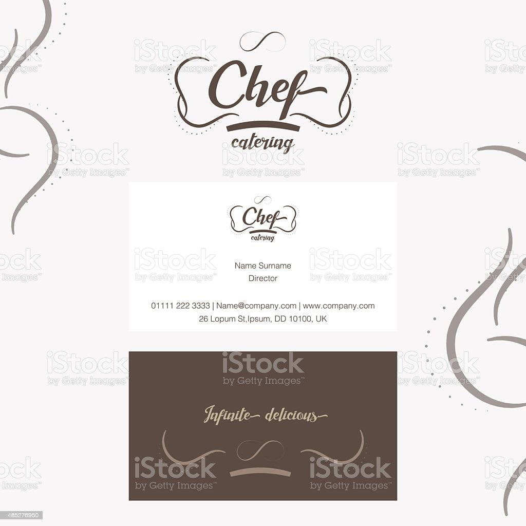Vector Chef Catering Logo With Business Card stock vector art ...