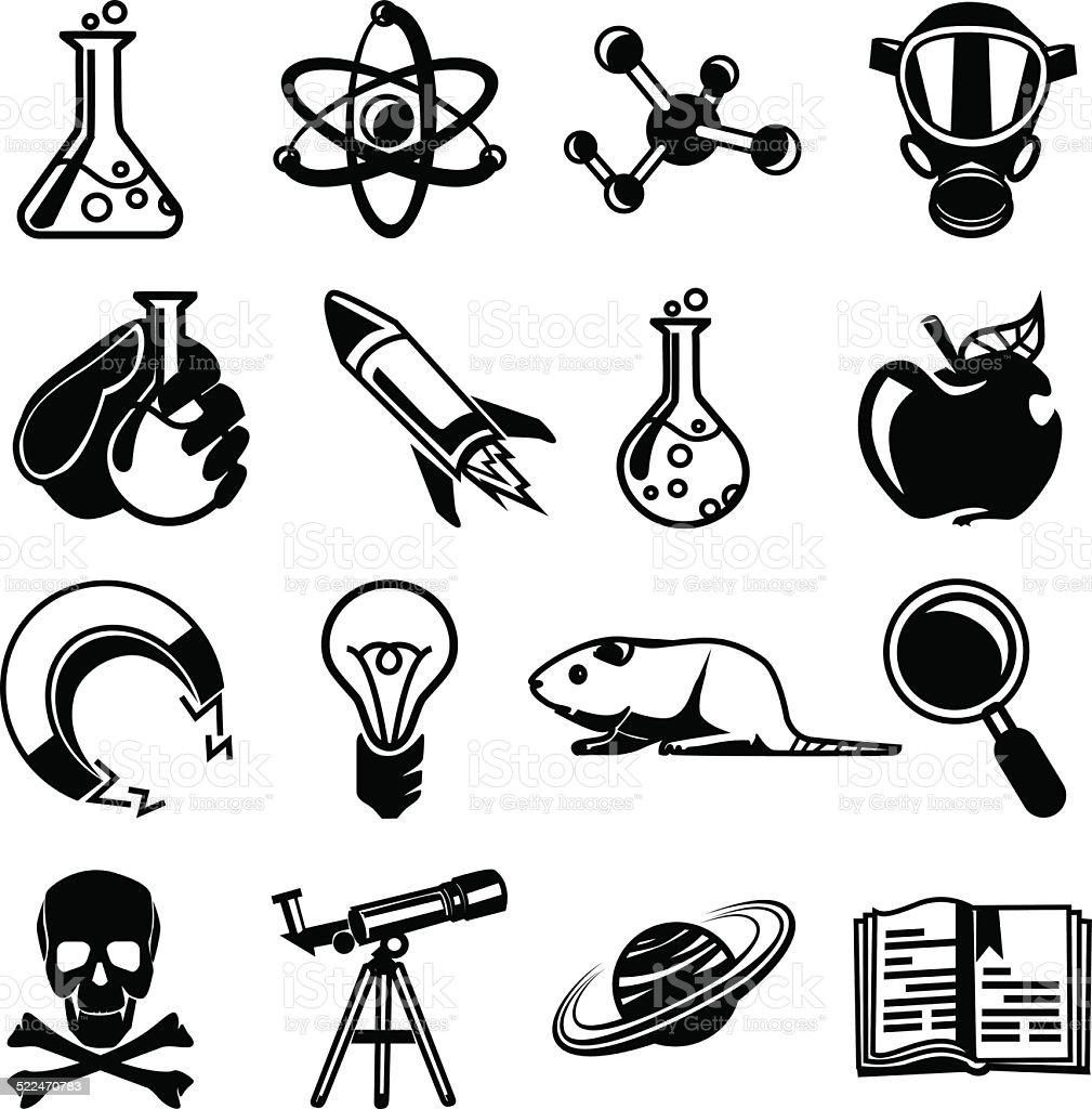 Vector chemistry black icon set vector art illustration