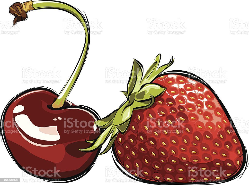 vector cherry and strawberry royalty-free stock vector art