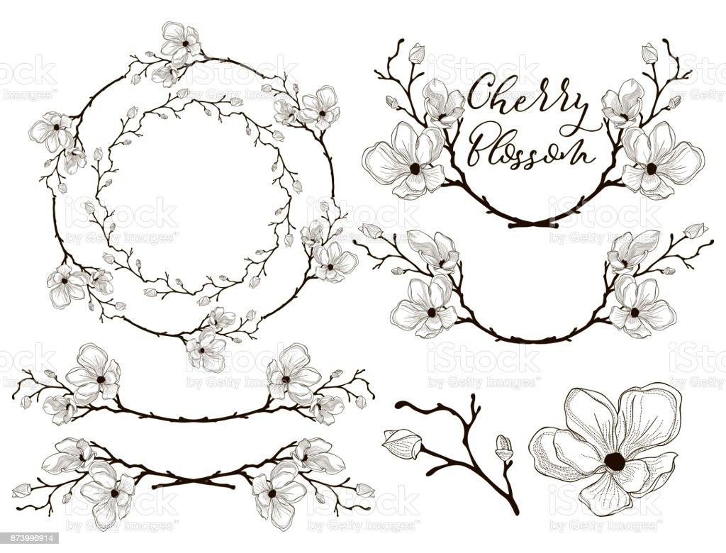 Ilustración de Vector Diseño De Flor De Cerezo Separadores Marcos Y ...