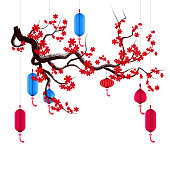 Vector Cherry blossom for Chinese New Year and mid autumn festival