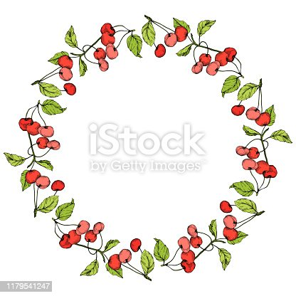 istock Vector Cherry fruits on white background. Green leaf. Red and green engraved ink art. Frame border ornament square. 1179541247