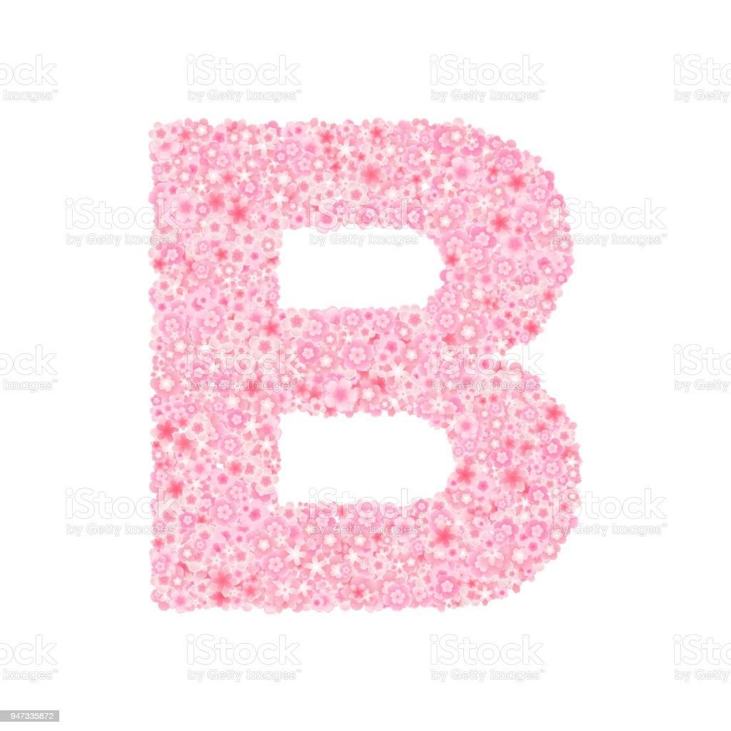 Vector Cherry Or Sakura Blossoms Font Letter B Stock Vector Art ...
