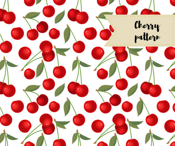 vector cherry seamless pattern. background, fabric design, wrapping paper, cover vector art illustration