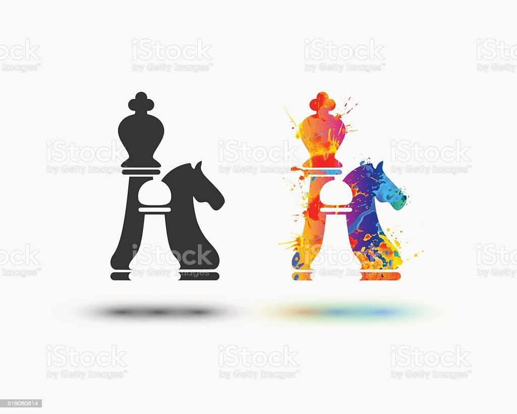 Vector chess icon vector art illustration