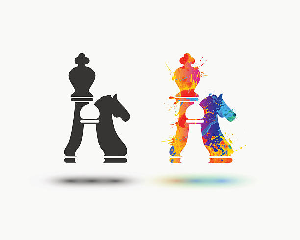 Vector chess icon chess icon. Vector watercolor splash paint icon chess knight silhouette stock illustrations