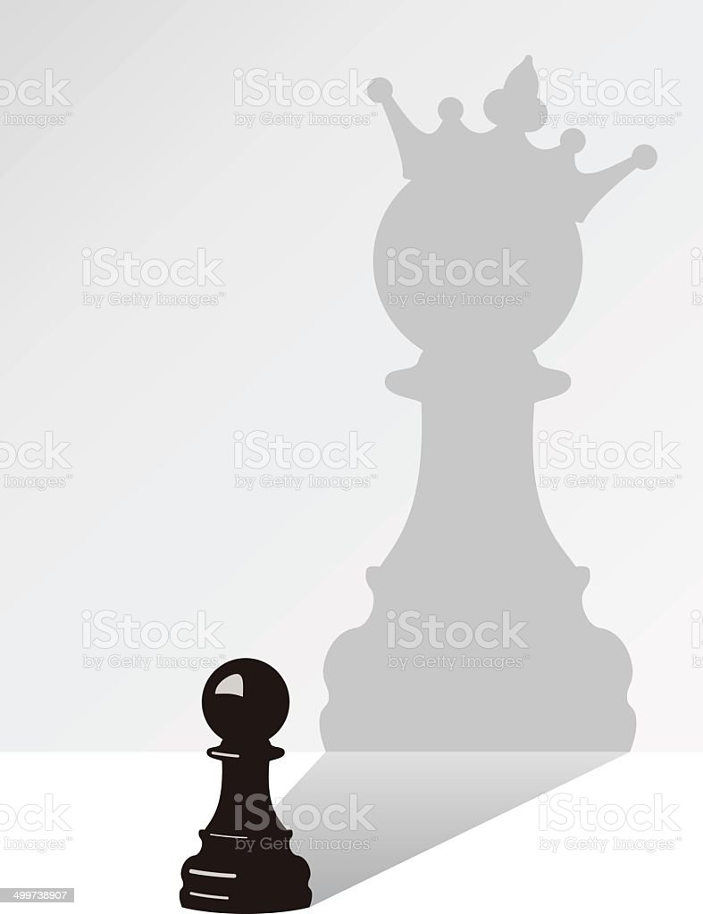 vector chess pawn with the shadow vector art illustration