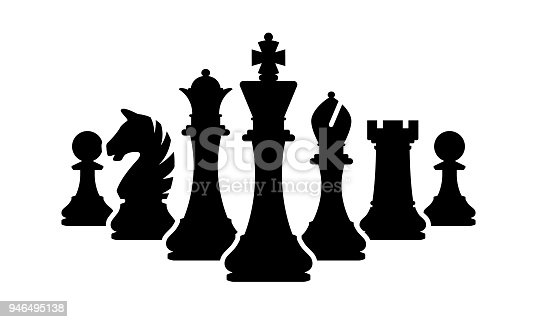 Vector chess pieces team isolated on white background. Silhouettes of chess pieces