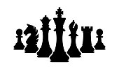 Vector chess pieces team isolated on white. Silhouettes of chess pieces