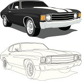 Vector Illustration of a 1971 Chevelle SS muscle car, saved in layers for easy editing.