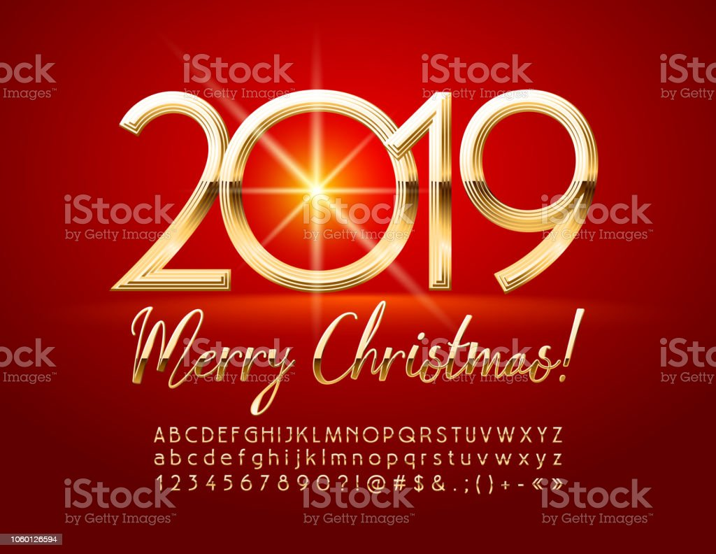 Merry Christmas 2019.Vector Chic Merry Christmas 2019 Greeting Card With Alphabet