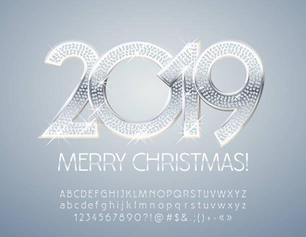 illustrazioni stock, clip art, cartoni animati e icone di tendenza di vector chic merry christmas 2019 greeting card with alphabet - tavola imbandita