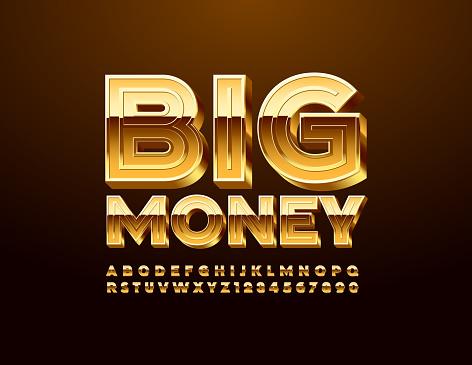 Vector chic sign Big Money with 3D Golden Alphabet