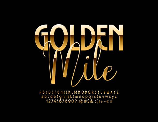 vektor-schicke zeichen golden mile. eleganten glänzenden buchstaben, ziffern und symbolen - blackpool stock-grafiken, -clipart, -cartoons und -symbole