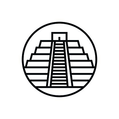 Vector Chichen Itza - Outline Icon