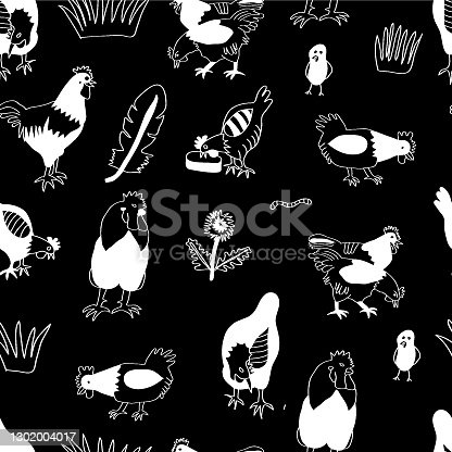 istock Vector chicken, hen und cock white silhouettes on black background. Poultry business background. 1302004017