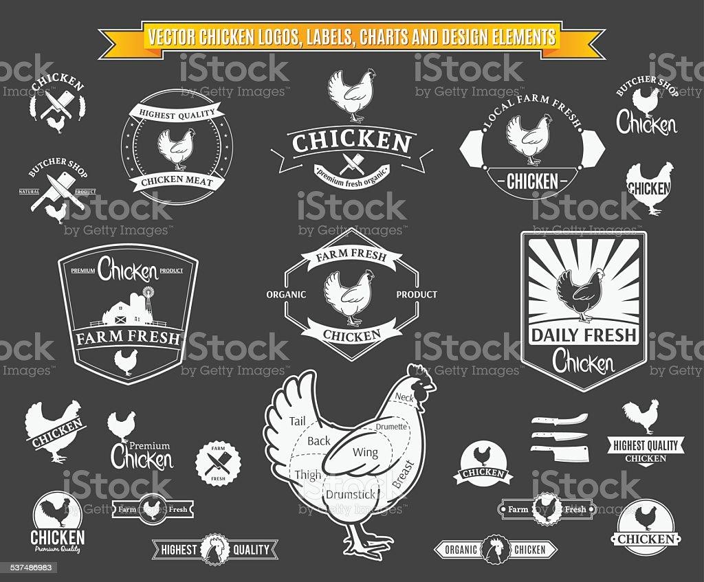 Vector Chicken Logos, Labels, Charts and Design Elements vector art illustration