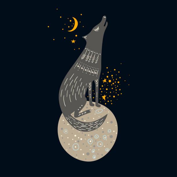 kindisch handgezeichneten vektorgrafik. grauer wolf sitzt auf einem planeten im weltraum und den mond anheulen. - einzelnes tier stock-grafiken, -clipart, -cartoons und -symbole