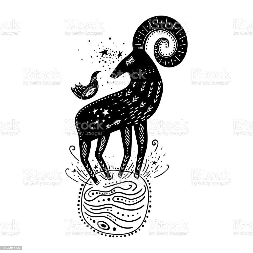 ベクトル幼稚な手描きイラスト宇宙に地球上でそれの上に座って鳥山羊が