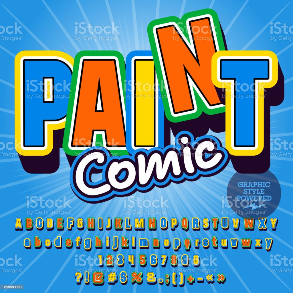 Conjunto infantil de vector del alfabeto con texto lúdico pintura Comic - ilustración de arte vectorial