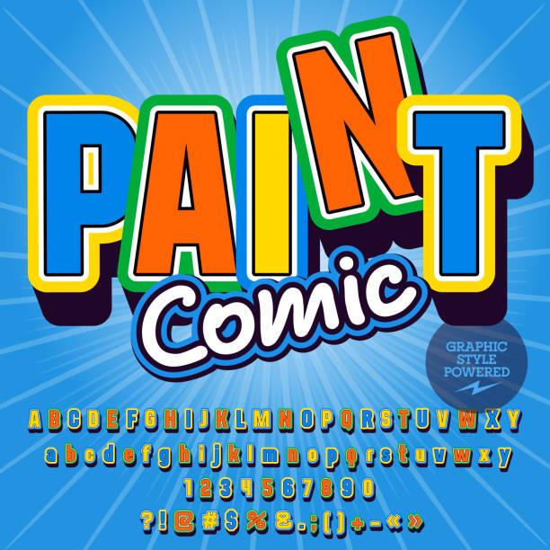 ilustraciones, imágenes clip art, dibujos animados e iconos de stock de conjunto infantil de vector del alfabeto con texto lúdico pintura comic - tipos de letra de historietas
