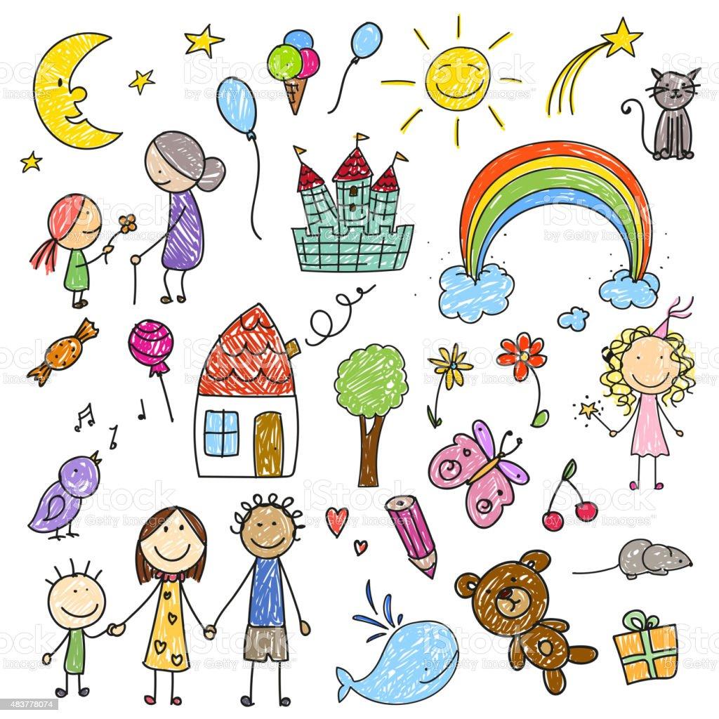 Vector Children Drawings Vector Illustration of a Collection of Children Drawings 2015 stock vector