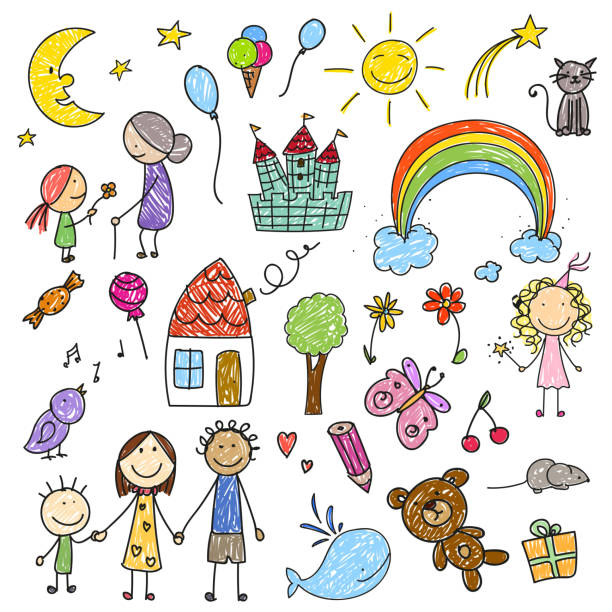 Vector Children Drawings vector art illustration