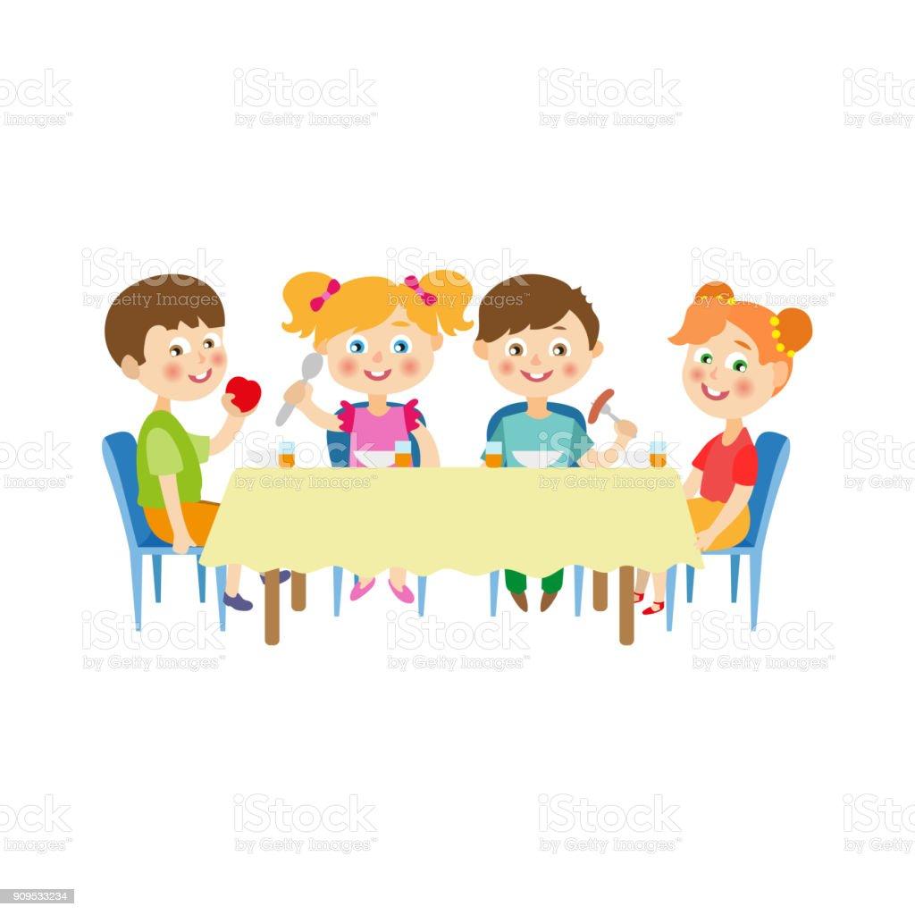 Eating Table Cartoon: Vektorkinder Sitzen Am Tisch Essen Im Camp Stock Vektor