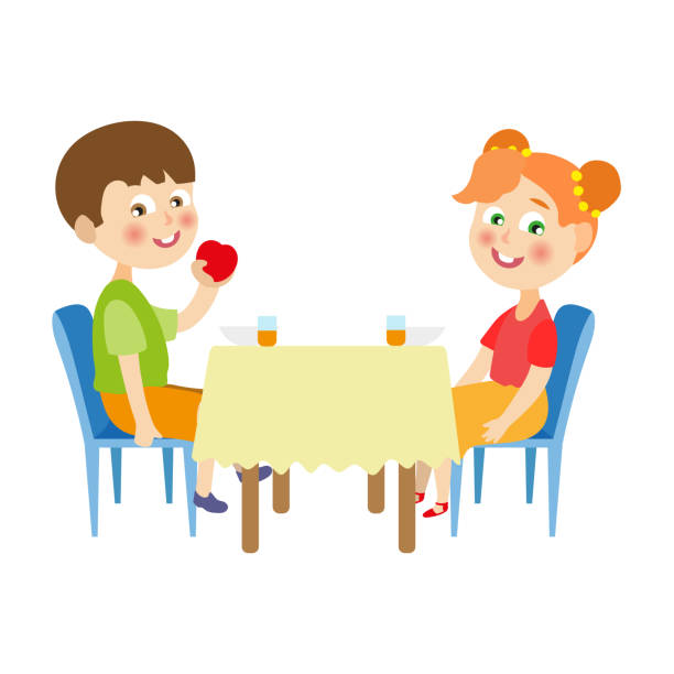 Eating Table Cartoon: Royalty Free Child Eating Cereal Clip Art, Vector Images